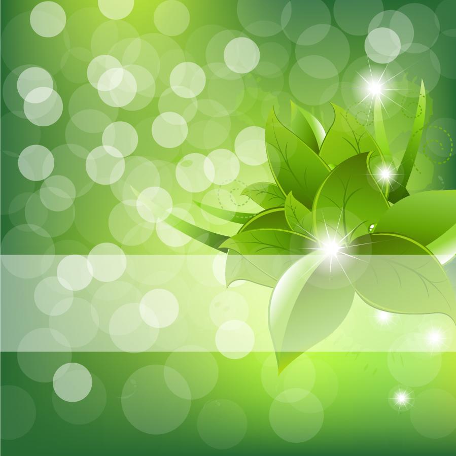 光に浮かび上がる緑の葉 Beautiful flowers green vector background イラスト素材