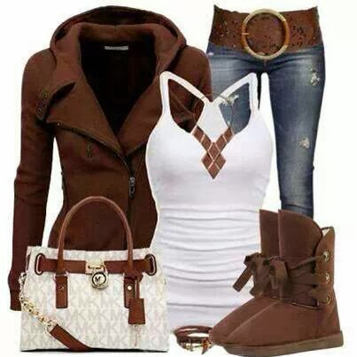 Brown Warm Jacket and White Blouse, Ugg Boots and Suitable Handbag, Jeans and Belt