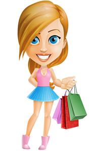 muñeca de compras