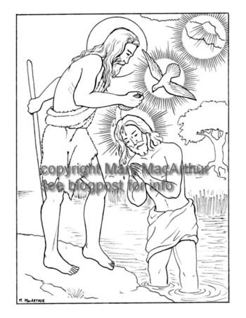 Snowflake Clockwork Baptism In The Jordan Coloring Page