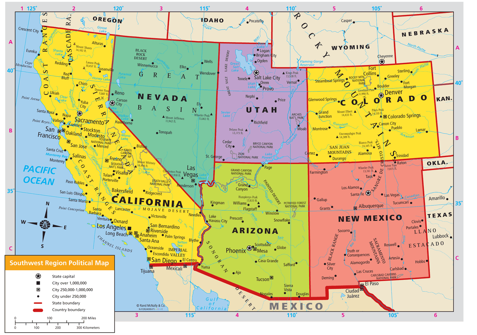 USA Map States And Capitals Southern Border Region California Us - Physical map of western us