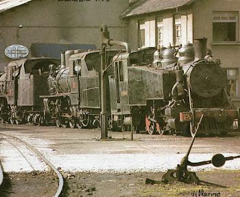 Varias locomotoras de vapor en el deposito.