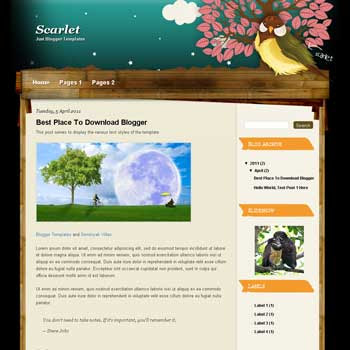 Scarlet Blogger Template. blogger template from wordpress theme. girly blogger template