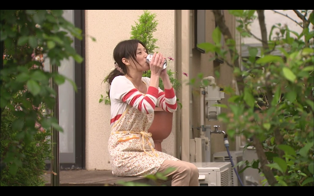 Last Cinderella - Miki steals a sip of beer while hanging out the washing
