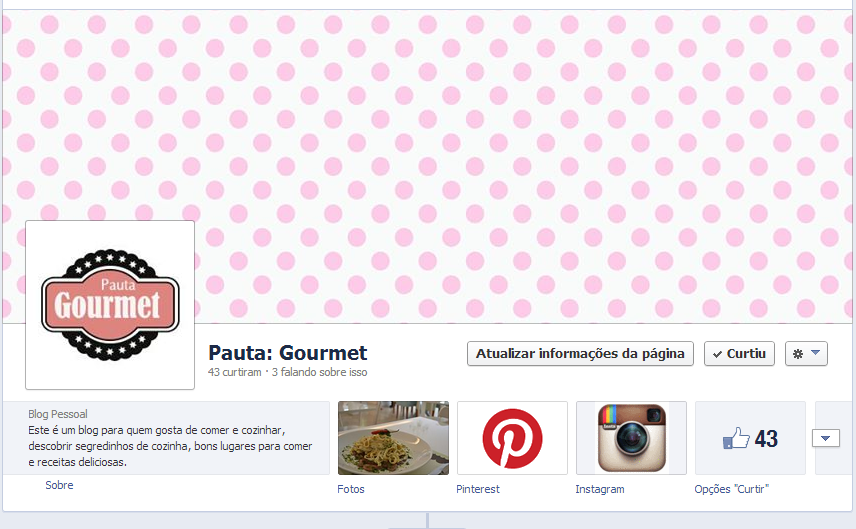 fanpage do blog Pauta Gourmet