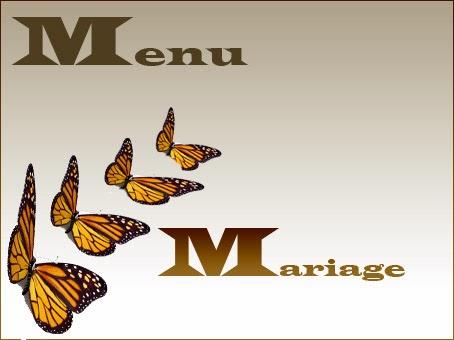 Texte de menu de mariage