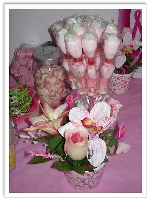 Brochetas de chuches rosa