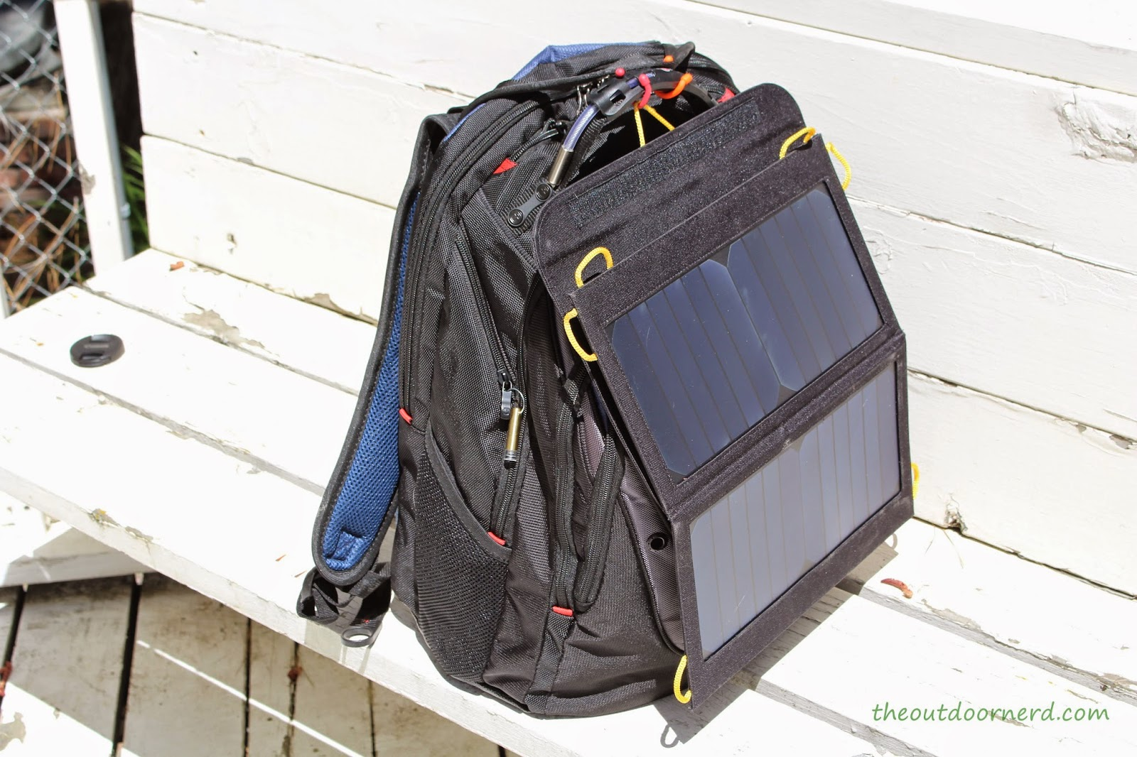 Levin Sol-Wing 13W Solar USB Charger: Attached to SwissGear Backpack
