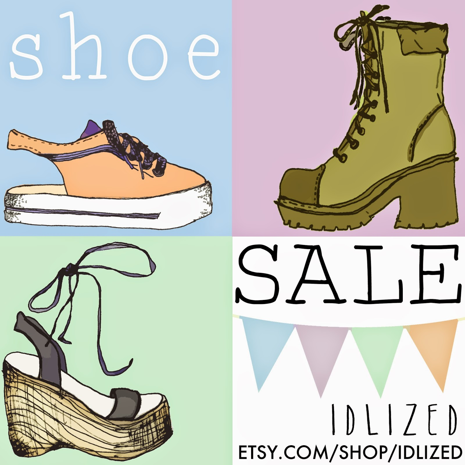 #shoe #sale #handdrawn #sketch #90s #platforms #hand #drawing #illustration #etsy #poster