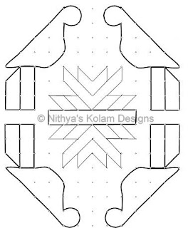 4 Parrot Kolam 16 by 8 dots