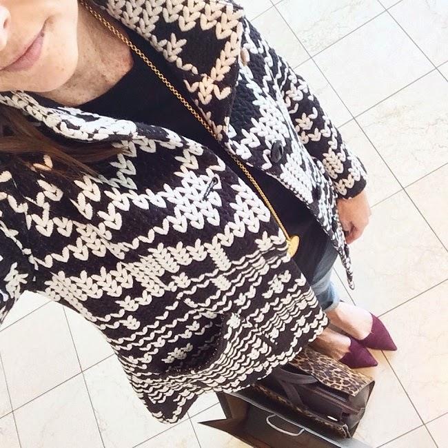 anthropologie coat, madewell slim boyfriend jeans, vince camputo flats, boden leopard handbag