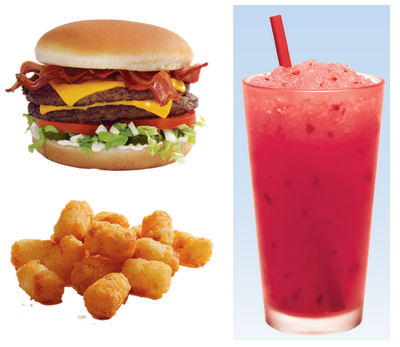 Sonic meal - bacon double cheeseburger with tots and slushy