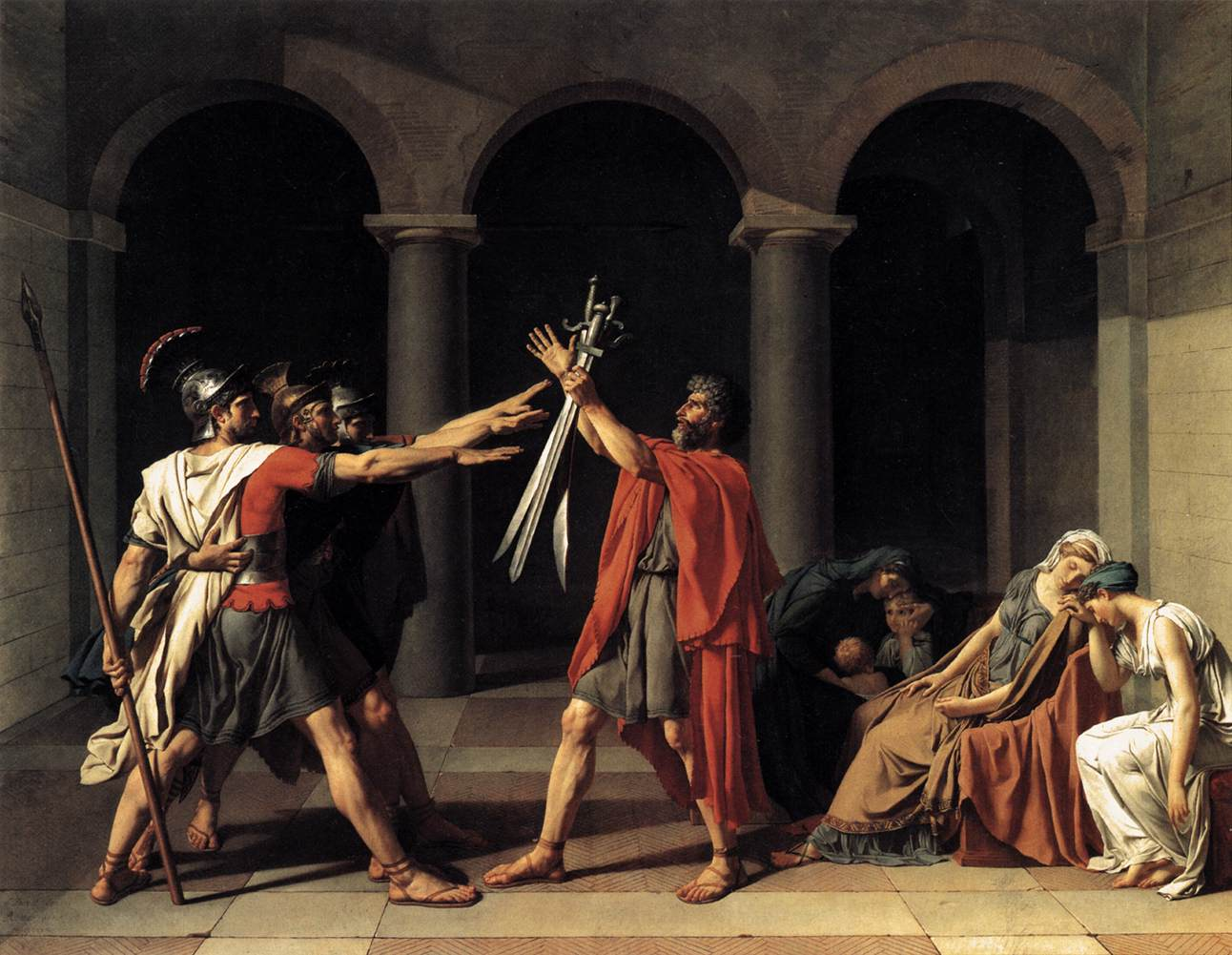 The Oath of the Horatii. 1784.  330 x 425cm