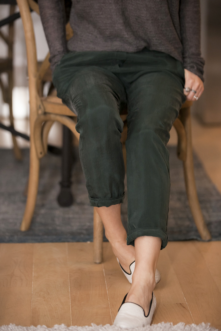 COS emerald green silk pants, Anthropologie white leather snake embossed loafers