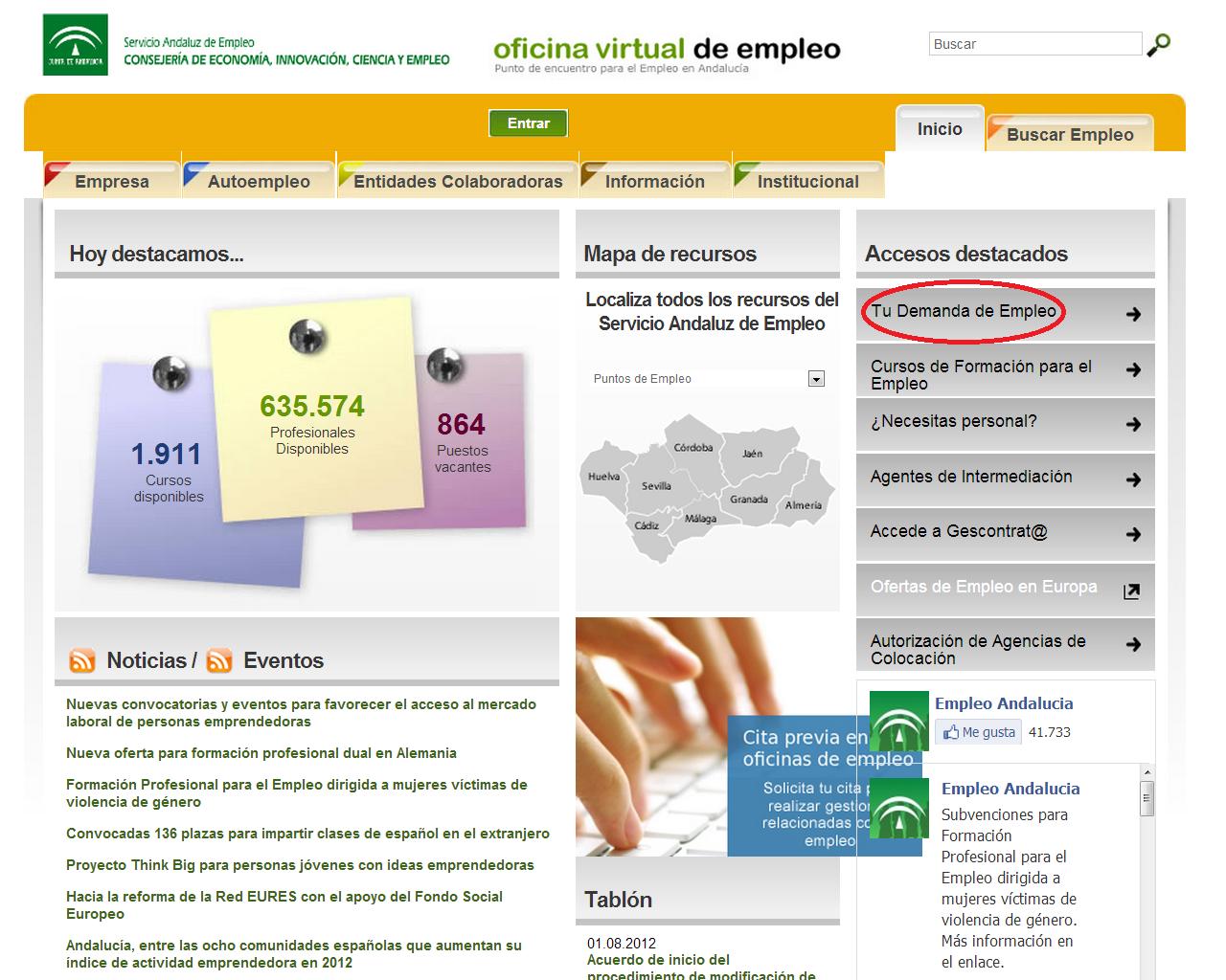 Orienta sue pasos a seguir para renovar la demanda de for Oficina de empleo andalucia