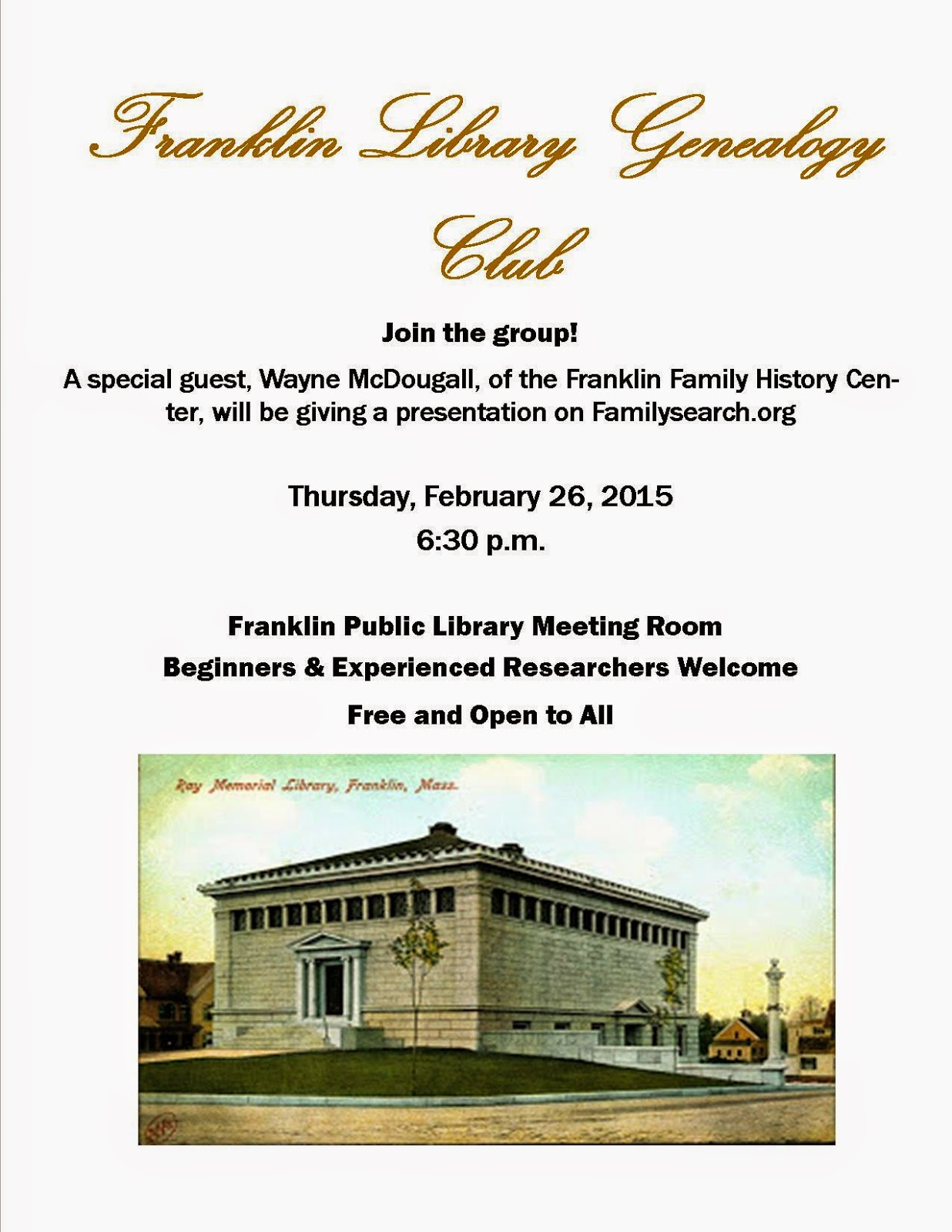 Geneology Club meeting Thursday, Feb 26th