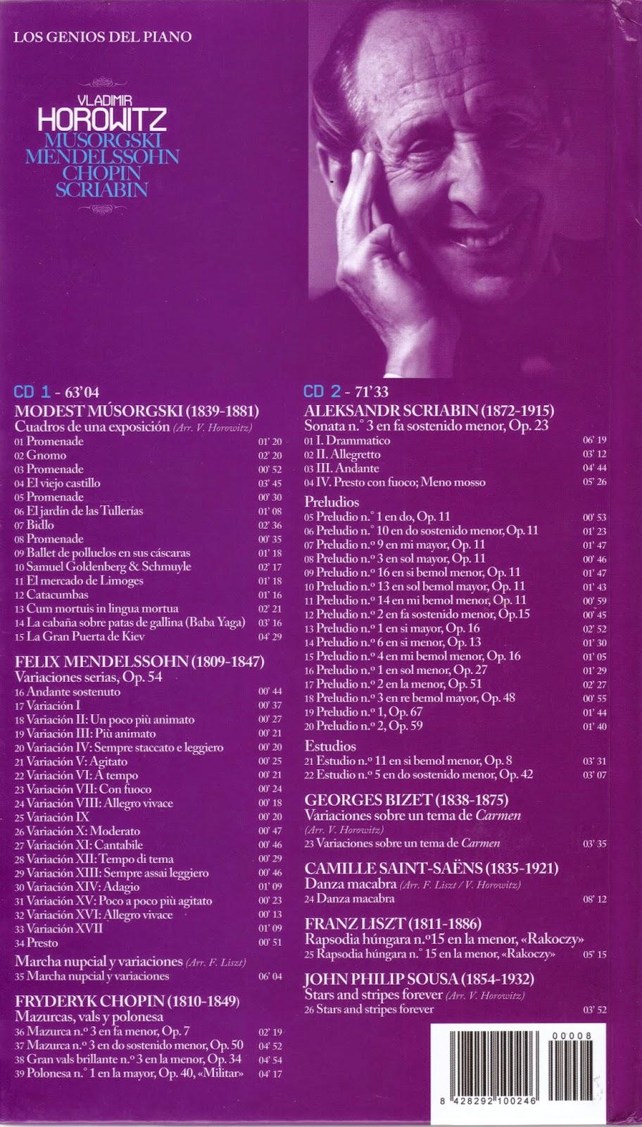 Imagen de Colección Los Genios del Piano-08-Vladimir Horowitz & Musorgski, Mendelssohn, Chopin y Scriabin-trasera