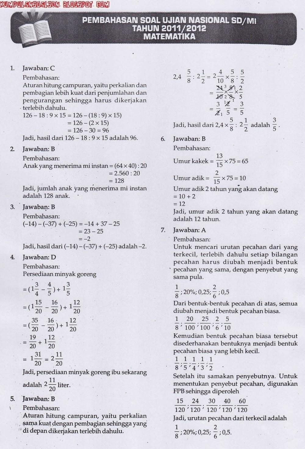 Pembahasan Un Us Try Out Matematika Kelas 6 Vi Sd Ta