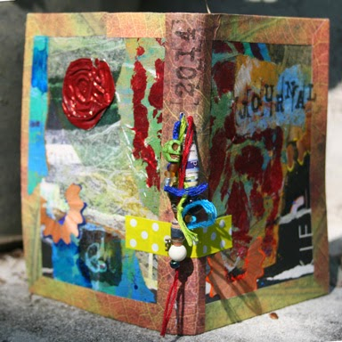 Art Journal of recycled cereal boxes, paper bags and fun. Cover.