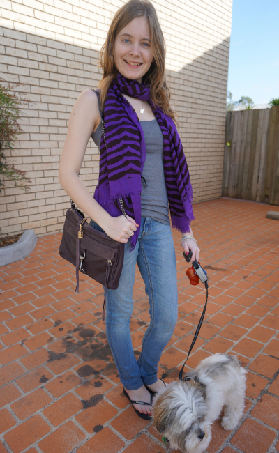 Marc By Marc Jacobs Scallop Stripe Scarf purple Tank skinny jeans RM MAC