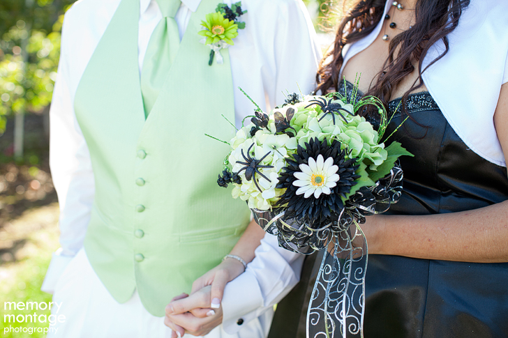 halloween wedding photo black green
