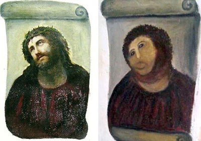 Before and after - Fresco of Jesus in Borja