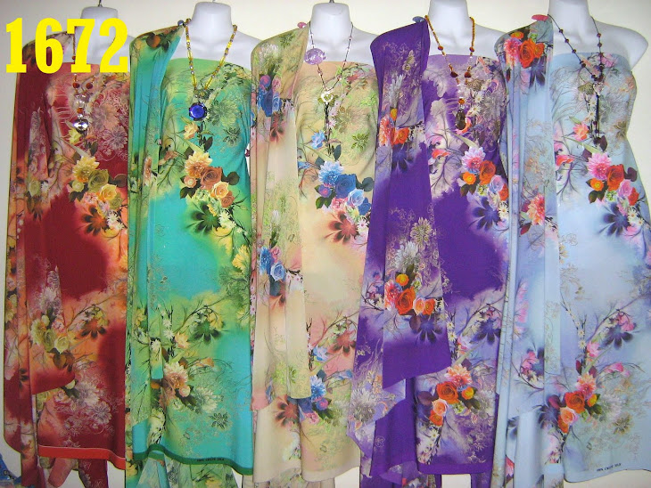 CS 1672: 100% CREPE SILK ITALIAN, 4 METER, EXCLUSIVE DESIGN, SEJUK DAN SGT CANTIK, 5 COLORS