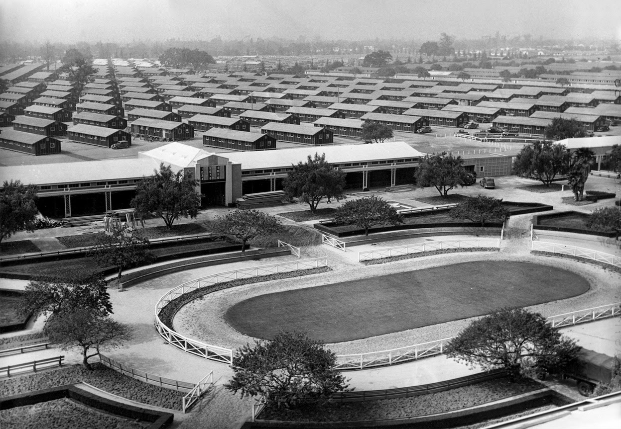 the santa anita park racetrack is turned into an internment camp for the japanese