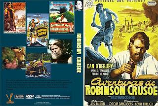 Carátula: Aventuras de Robinson Crusoe 1954.