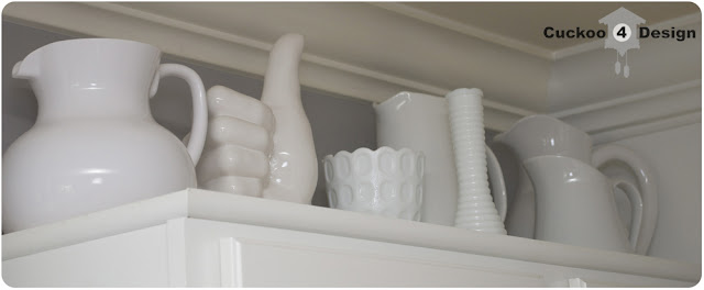 milk glass collection in kitchen