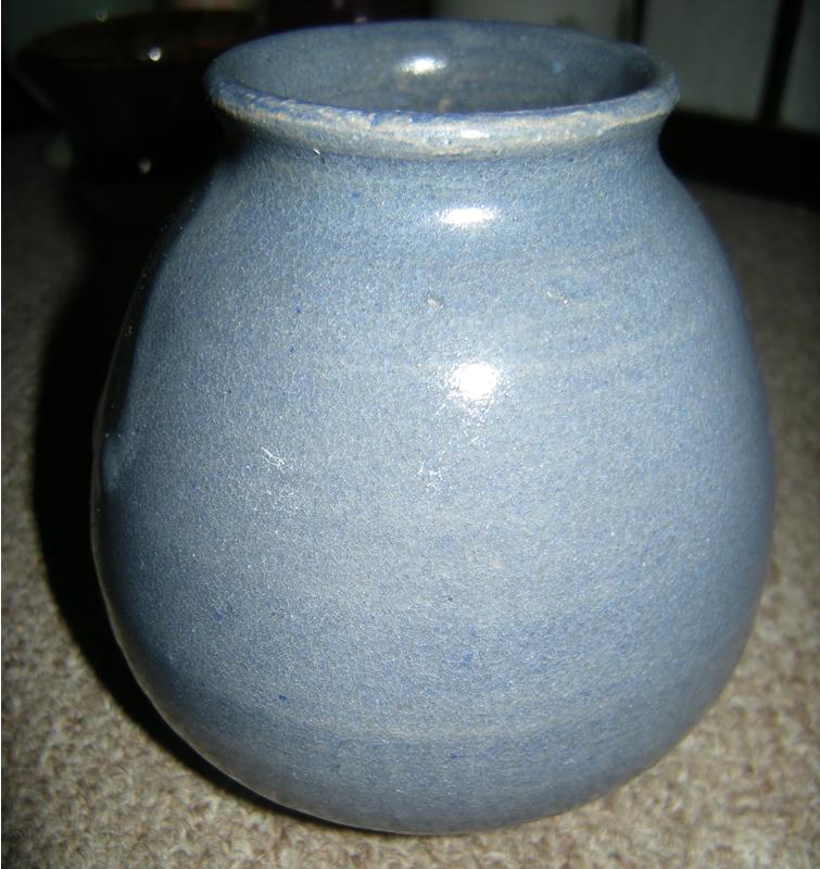 Blue glazed studio pottery jar, signed Graf.