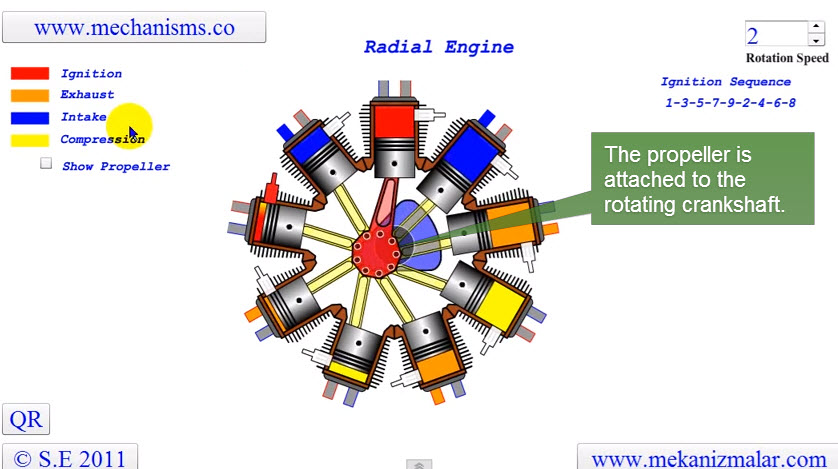 diagram of a radial engine works form an animation drawing and graphics
