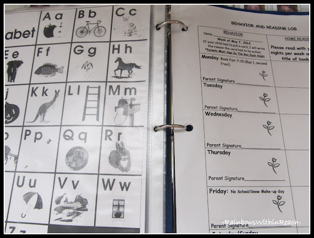 photo of: Kindergarten Binder for Home Communication (Organizational RoundUP via RainbowsWithinReach)