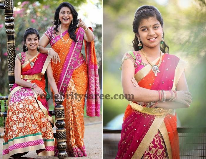 Roja and Her Daughter Half Sarees