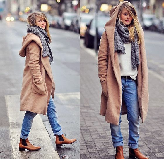 Hoaded coat,jeans,boots