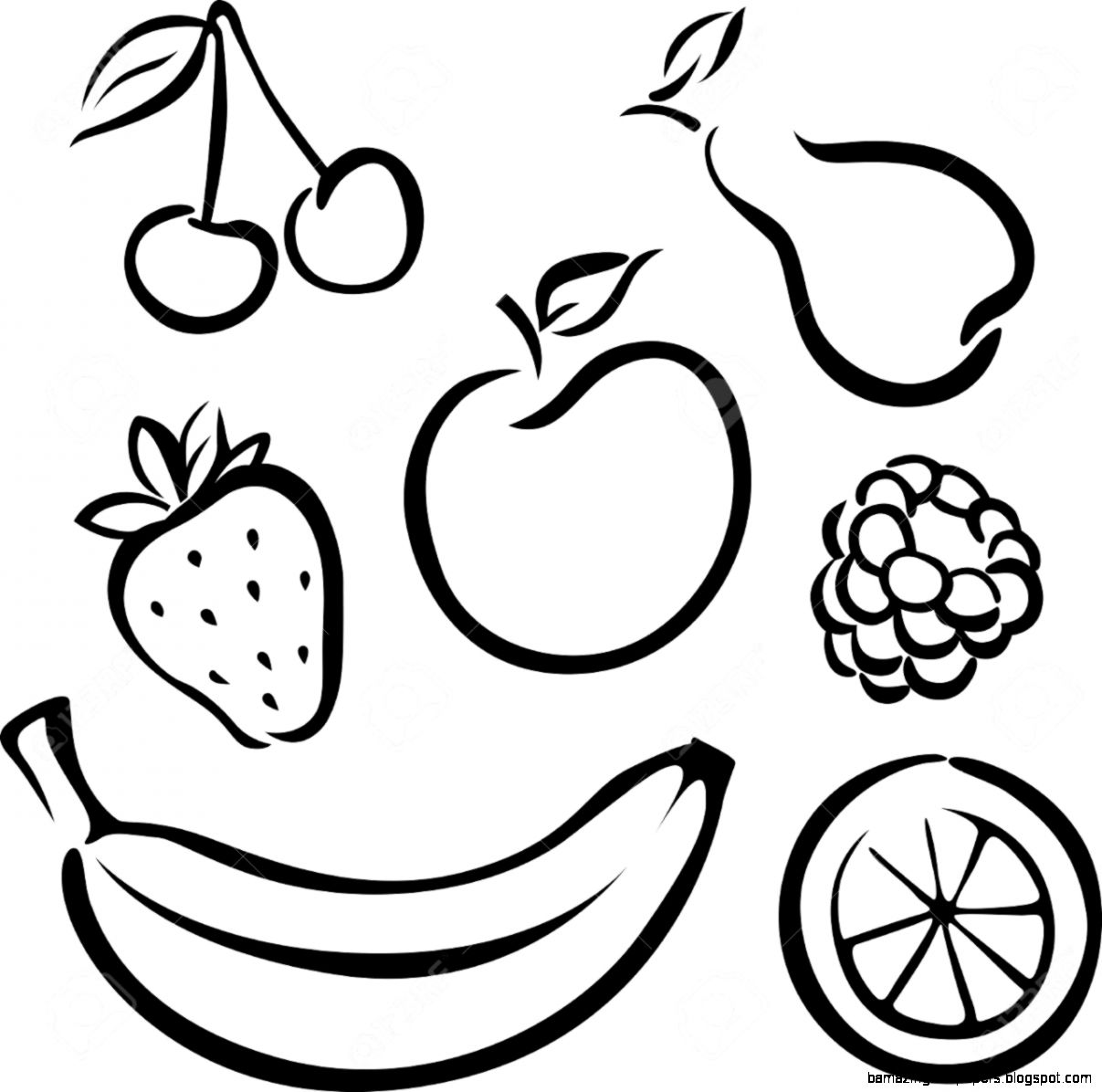 Set Of Vector Fruit Icons   Black On White Background Royalty Free