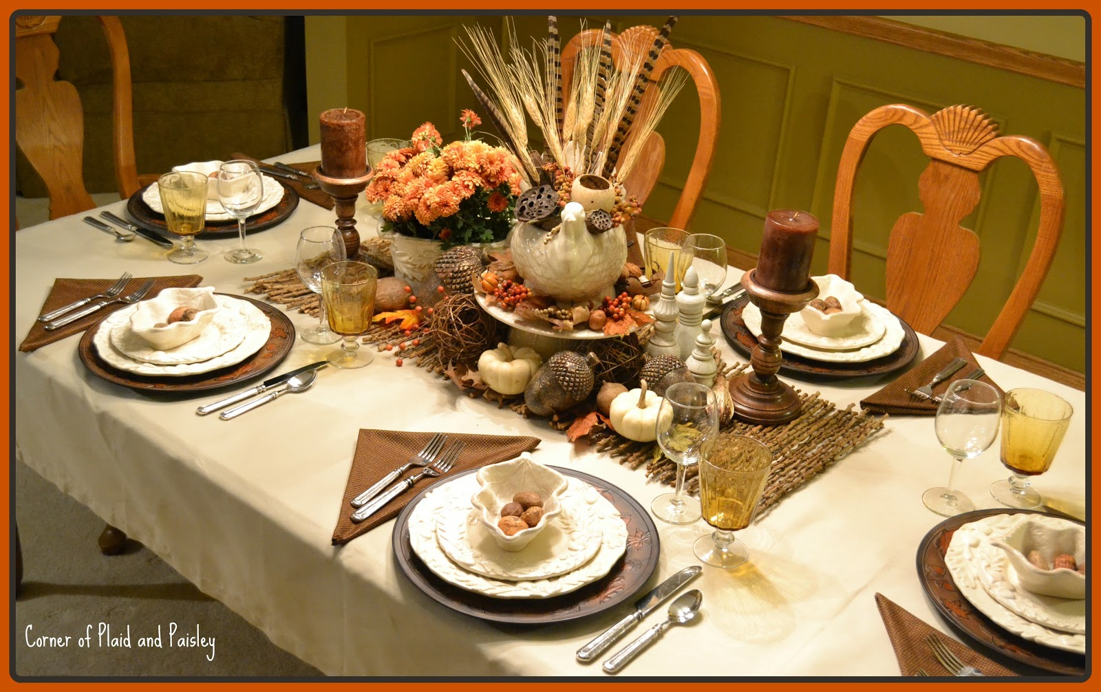 Corner of plaid and paisley thanksgiving table not the Thanksgiving table