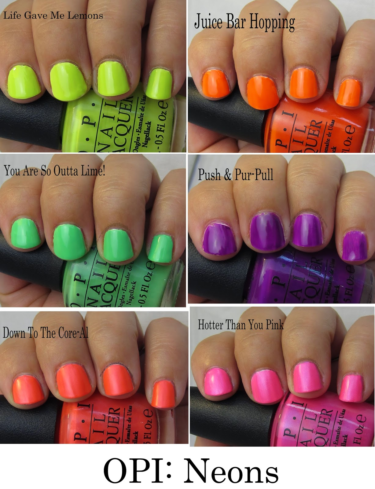 The Manicured Monkey: OPI: Neons - swatches