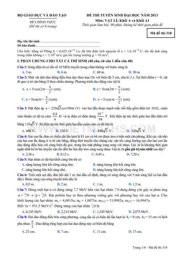 đề thi đại học môn lý khối a 2013