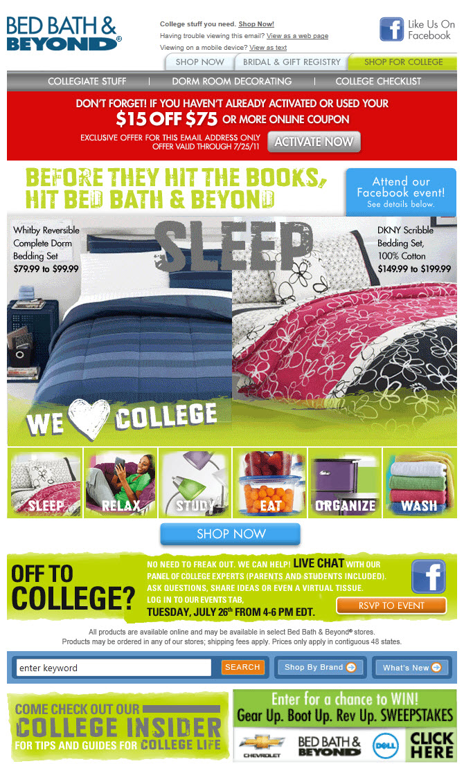 Bed Bath And Beyond College Emails