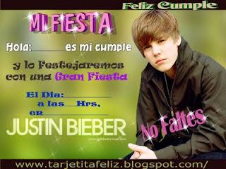 Invitacion de Justin Bieber