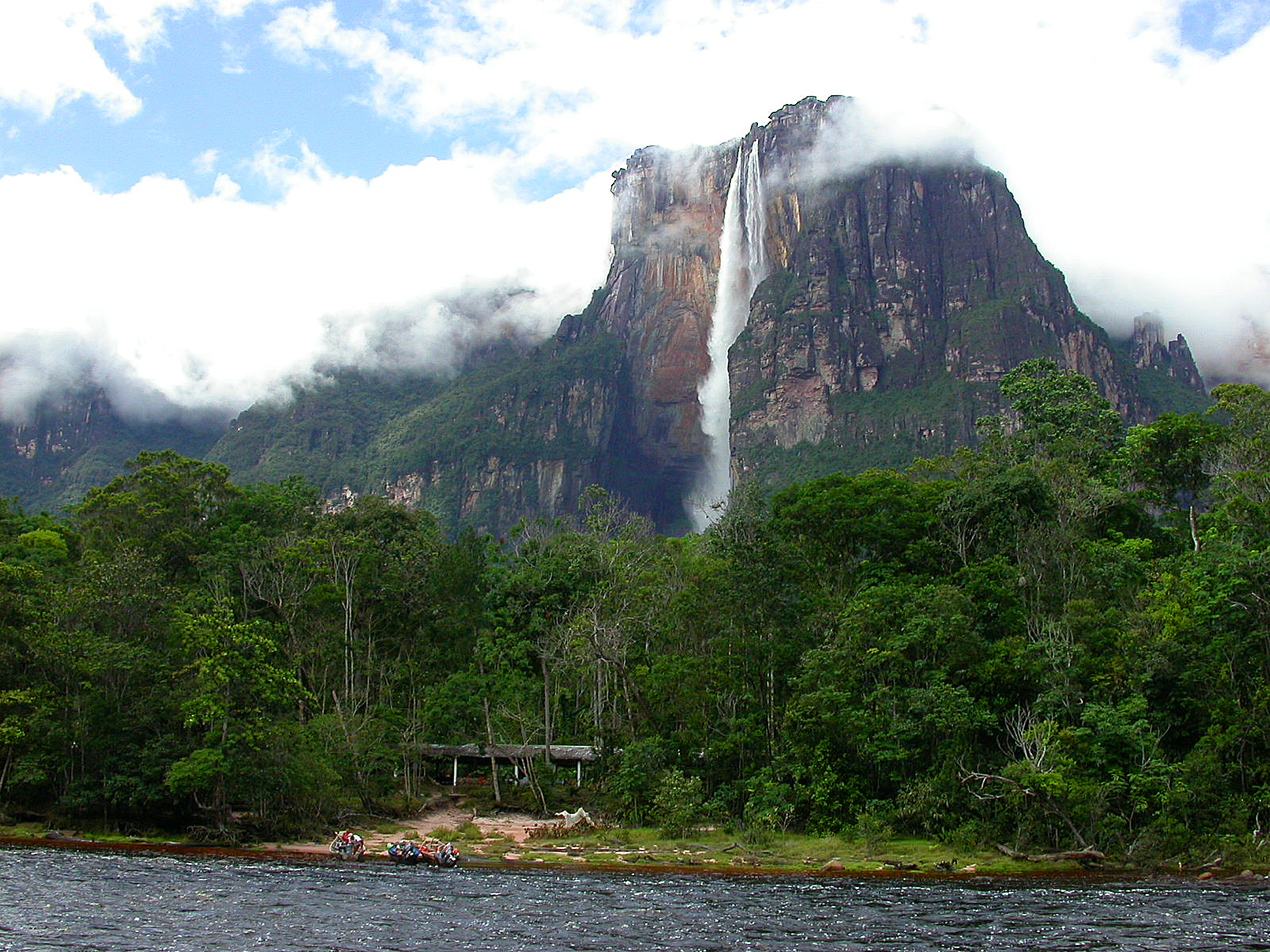 Angel falls or salto angel is a waterfall that falls freely without