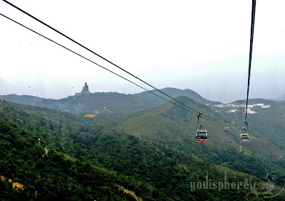 View of Tian Tan Buddha Statue at Ngong Ping 360 initial approach of Lantau Island