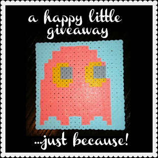 Pacman Ghost Pixel Art GIVEAWAY! cotton candy colors, warhol style, made from perler hama beads