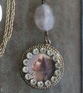 pendant with rhinestones and ephemera lady