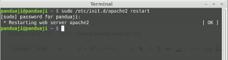 Restart Apache2 on Ubuntu
