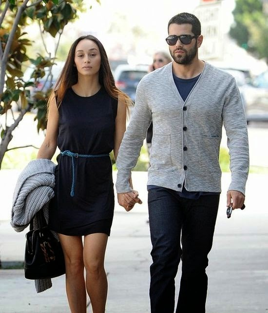 Cara Santana enjoyed her stroll in a blue dress with boyfriend, Jesse Metcalfe at West Hollywood, CA, USA on Wednesday, January 7, 2015.