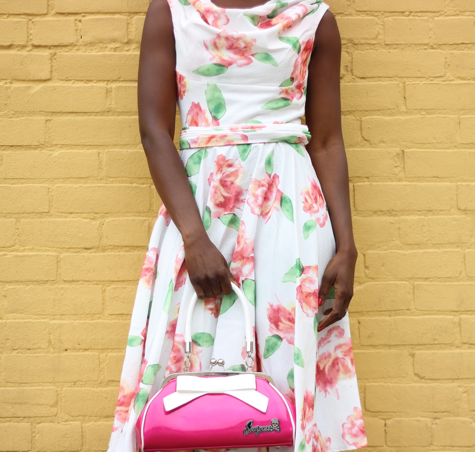 Iconic Pink and Floral Scoop Neck Belted Swing Dress, Retro Style Raspberry Pink Floozy Kiss Lock Purse, Black and Pink Peep Toe Ruffle Liberia Heels by Unique Vintage