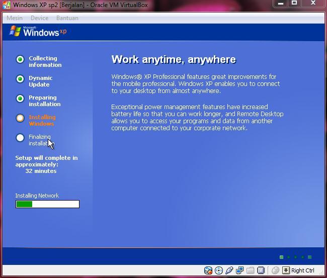 Installing Network selesai. Agan akan masuk ke proses Starting Windows