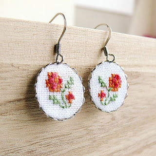 embroidered folk earrings earrings